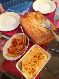 Chicken Pie, Roast Veg and Mash