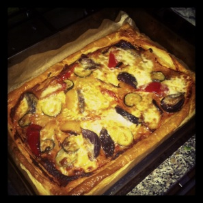 Roast Veg and Mozzarella Tart