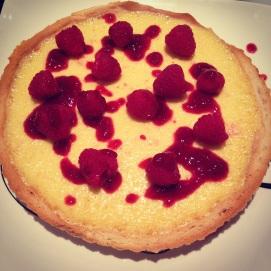 White Chocolate and Cardamom Tart with Raspberries